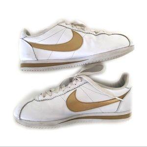 Nike Sneakers White Gold Swoosh Stripe Women's 8.5